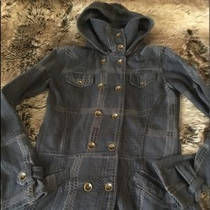 HURLEY BLUE PLAID DOUBLE-BREASTED HOODED JACKET!!!